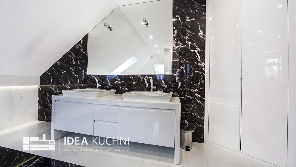 Projekt łazienki - biel i czerń