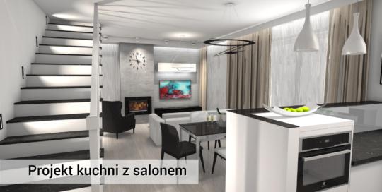 Kuchnia z salonem - projekt z półwyspem - nowoczesny styl - Lipków