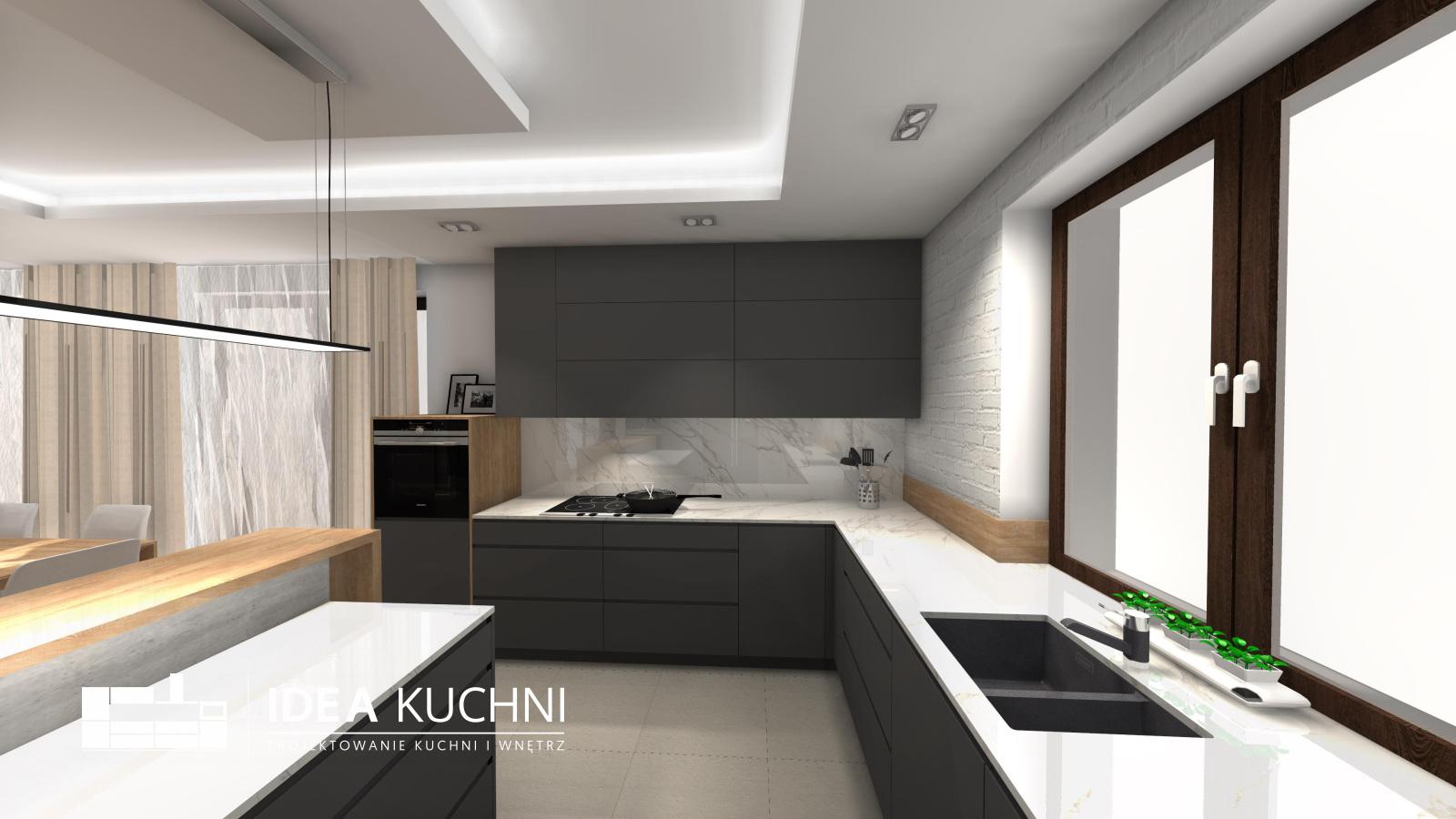 Projekt kuchni i salonu - nowoczesny styl - Chotomów