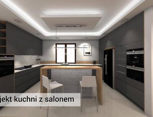 Kuchnia i Salon | Chotomów | Kuchnia Grafitowa z Drewnem | Kuchnia Nowoczesna