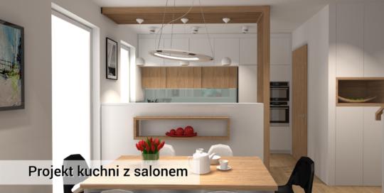 Projekt kuchni i salonu - Lipków - biały design kuchni