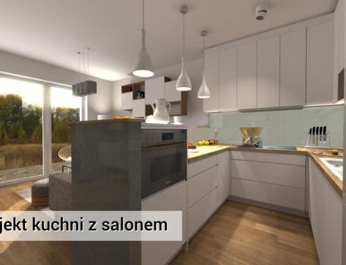 Kuchnia i Salon | Wawer | Kuchnia Biała z Drewnem | Kuchnia Nowoczesna