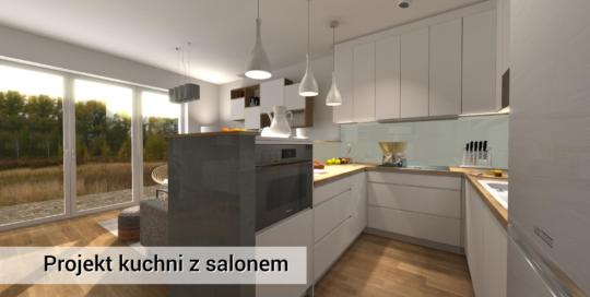 Biała kuchnia ze elementami drewna - Wawer - projekt kuchni i salonu