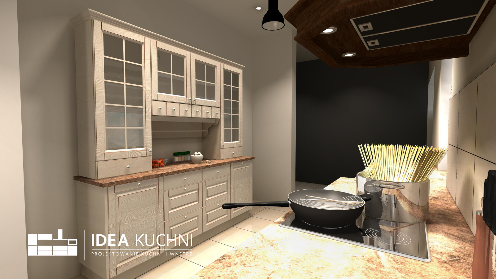 Klasyczna, kremowa kuchnia z drewna - Anastazew