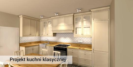 Klasyczna, kremowa kuchnia z drewna - Pruszków