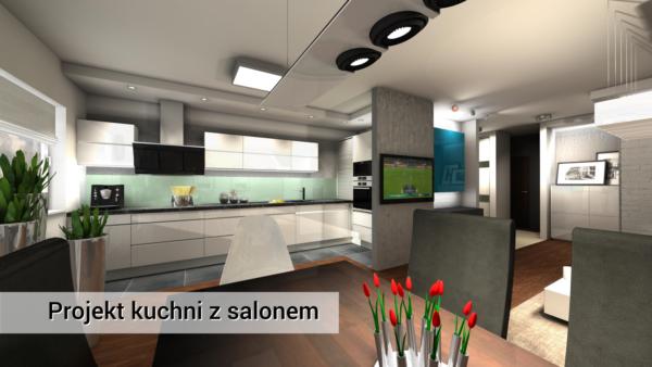 Kuchnia z salonem Wola Kuchnia nowoczesna www.ideakuchni.pl