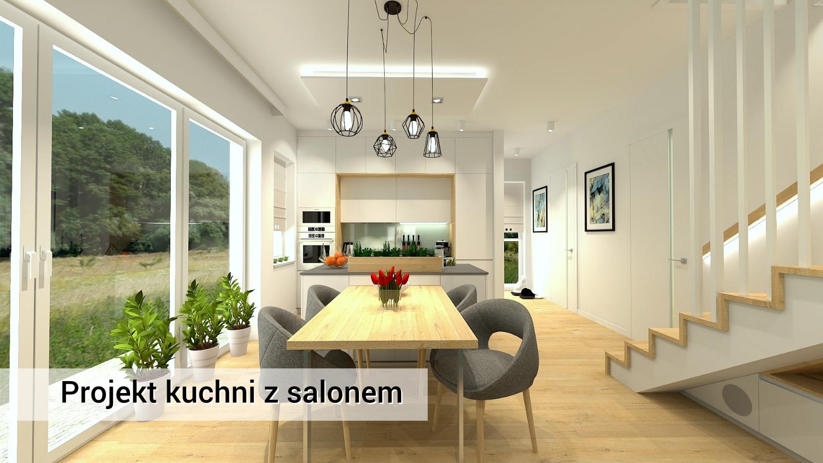 Biała, nowoczesna kuchnia oraz salon - projekt zielonki