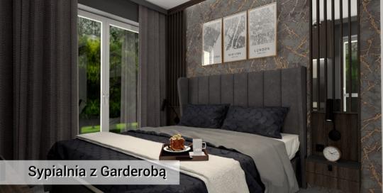 Sypialnia z garderobą - meble fornirowane - nowoczesny styl