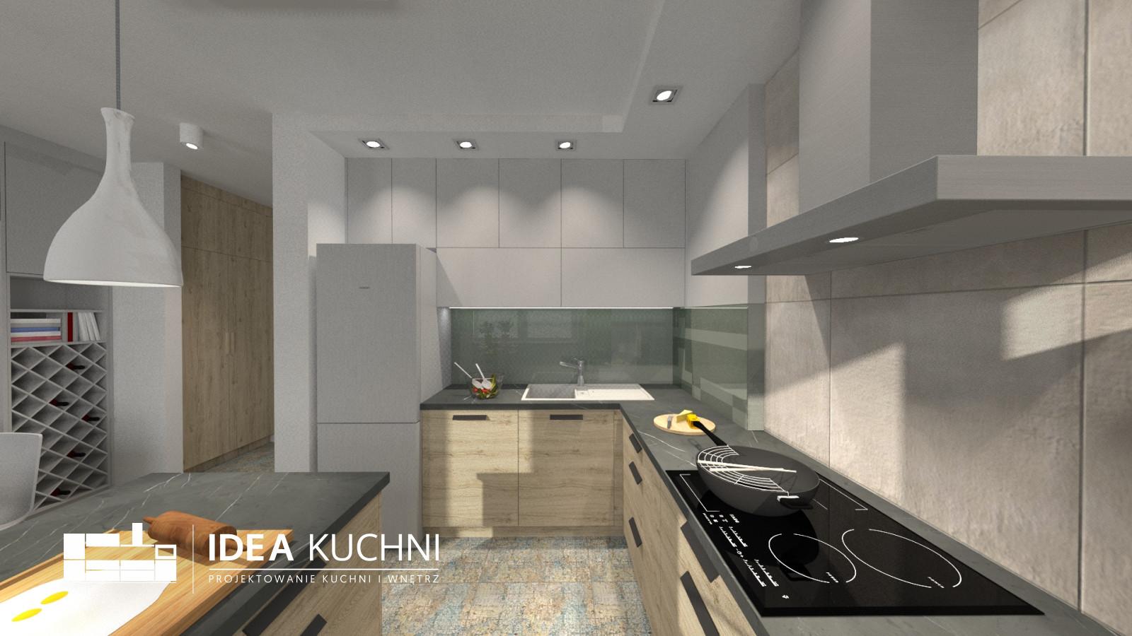 Nowoczesna kuchnia - Klaudyn - kuchnia z płyt egger