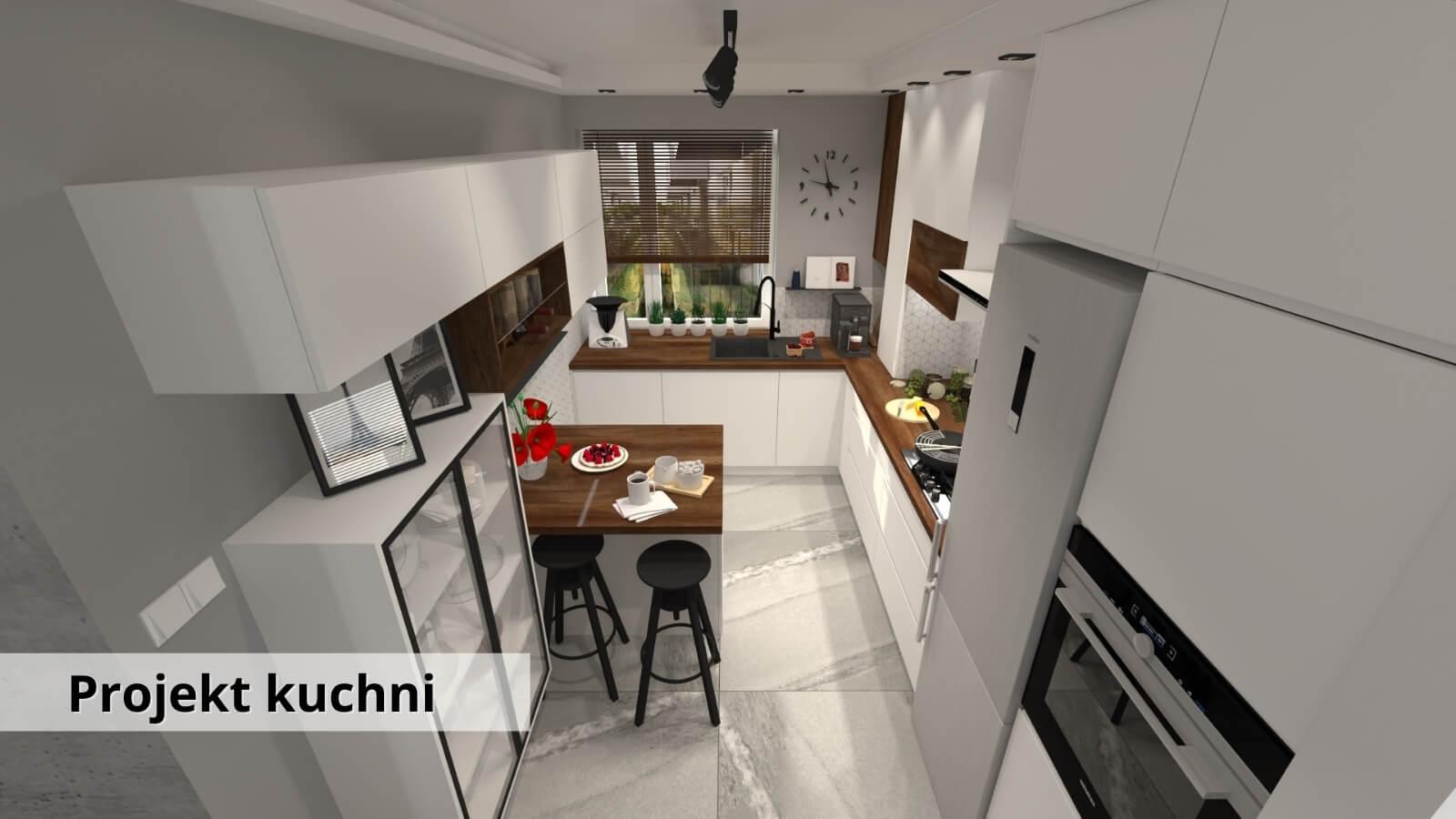 Projekt nowoczesnej białej kuchni