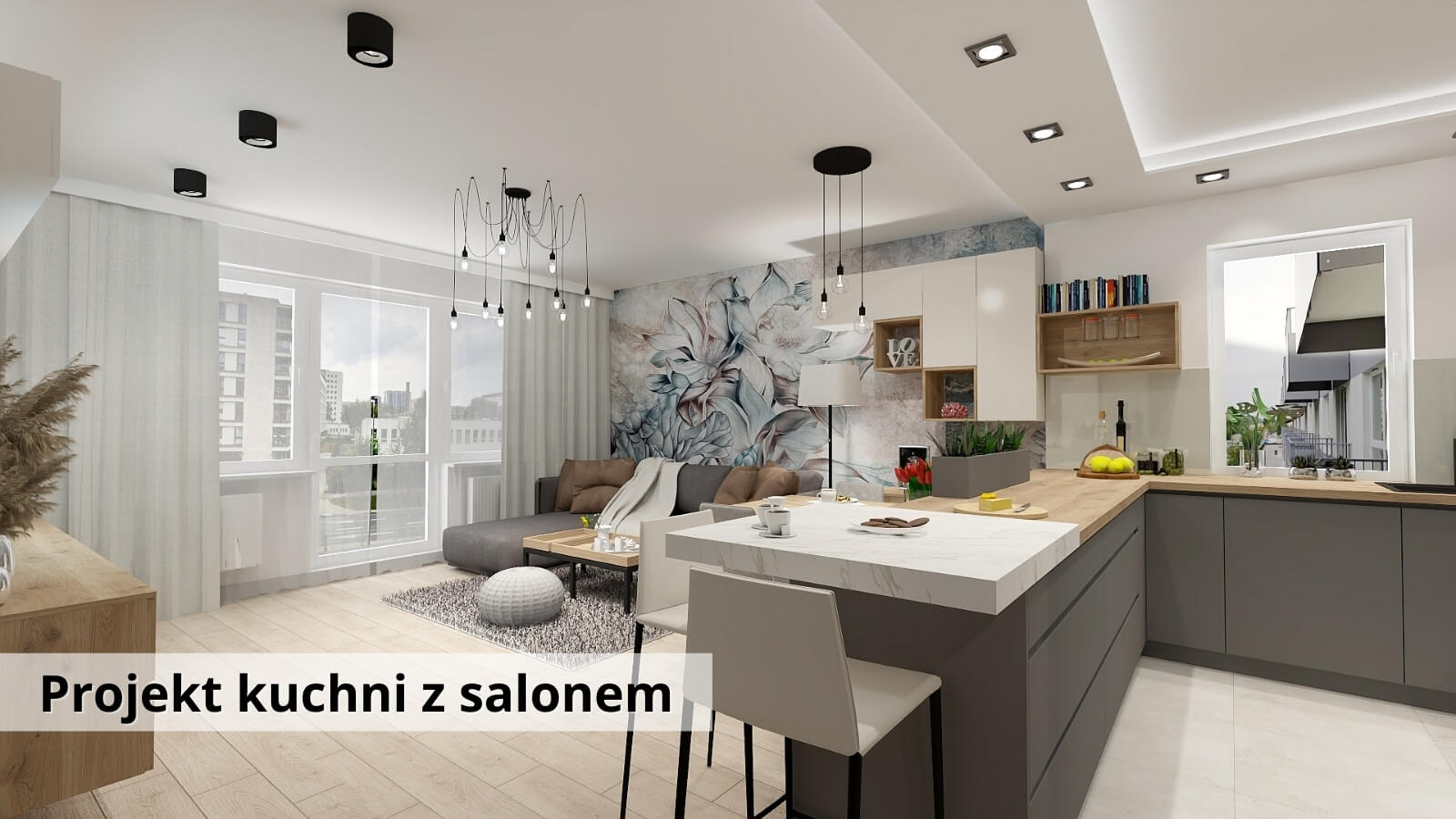 Projekt kuchni z salonem