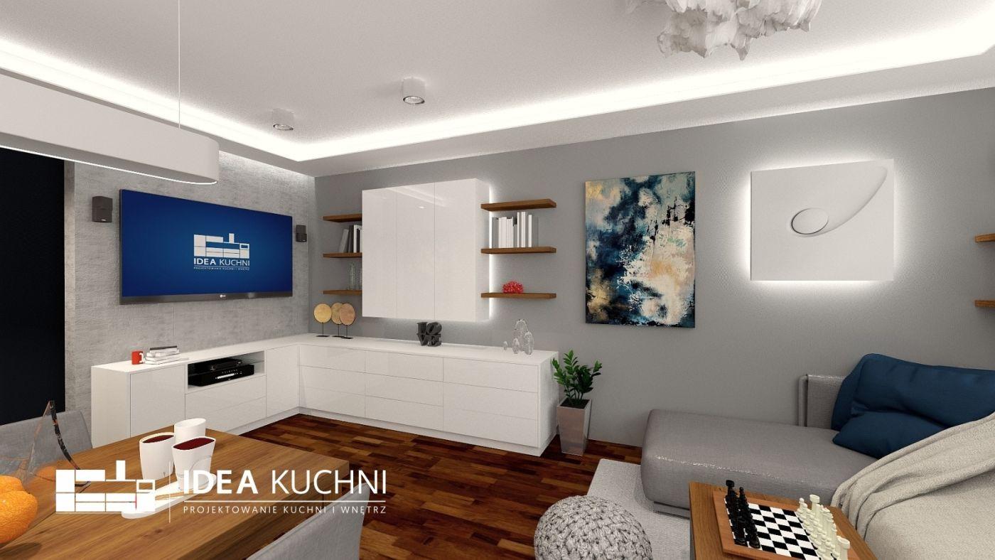 Projekt nowoczesnej kuchni w połączeniu z salonem