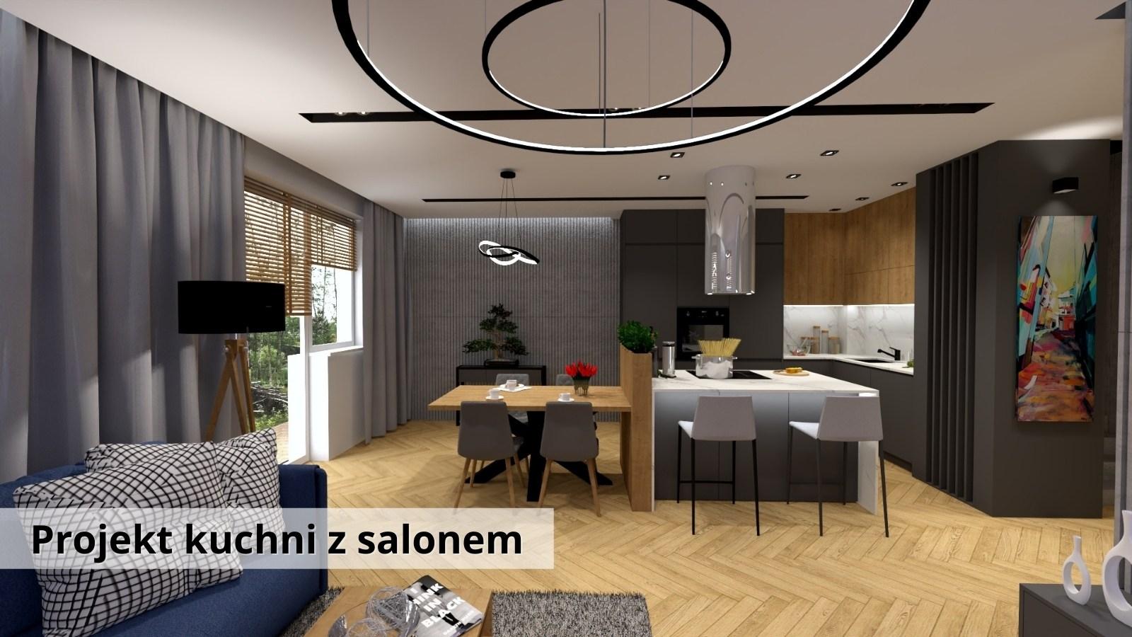 Projekt kuchni z salonem oraz jadalnią - Warszawa